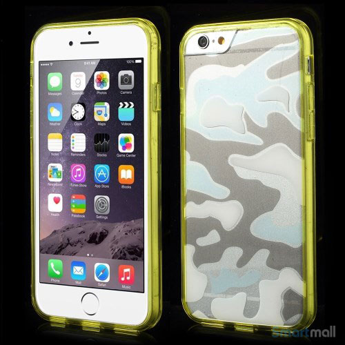 Camouflage-moennstret-cover-til-iPhone-6,-semitransparent-gul