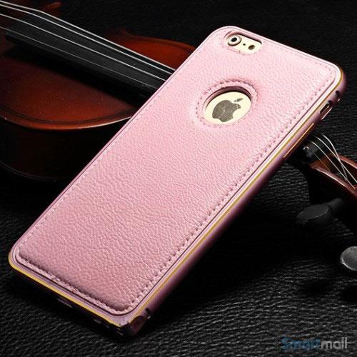 Luksuriøst bag-cover til iPhone6 med metalkant-pink