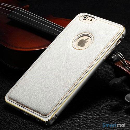 Luksus-bag-cover-til-iPhone-6,-syet-laeder-hvid-bagside