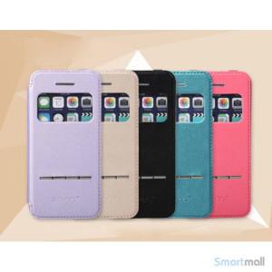Avanceret LEIERS-flipcover til iPhone 5 & 5s, med vindue og slider - Blaa2