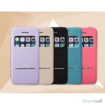 Avanceret LEIERS-flipcover til iPhone 5 & 5s, med vindue og slider - Champagne2