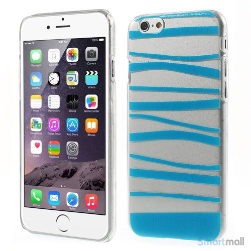 Cover til iPhone 6 med dekorative irregulaere striber - Blaa