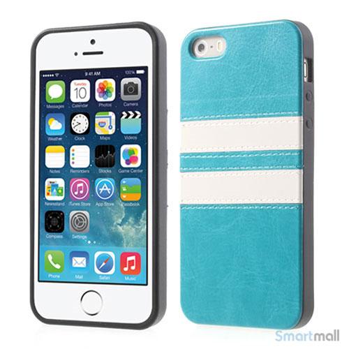 Crazy Horse cover med læderbagside til iPhone 5 og 5s – Blå