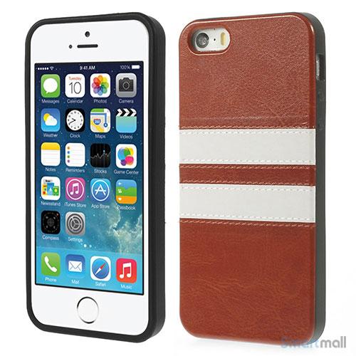 Crazy Horse cover med læderbagside til iPhone 5 og 5s – Brun