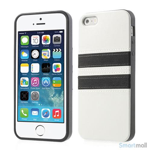 Crazy Horse cover med læderbagside til iPhone 5 og 5s – Hvid