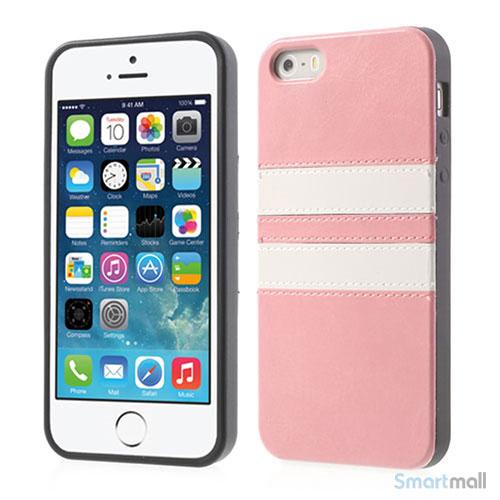 Crazy Horse cover med læderbagside til iPhone 5 og 5s – Pink