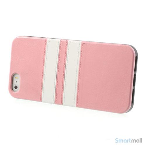 b25ad209dba Crazy Horse cover med læderbagside til iPhone 5 og 5s - Pink