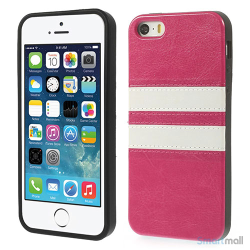 Crazy Horse cover med læderbagside til iPhone 5 og 5s – Rose