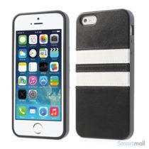 Crazy Horse cover med læderbagside til iPhone 5 og 5s – Sort