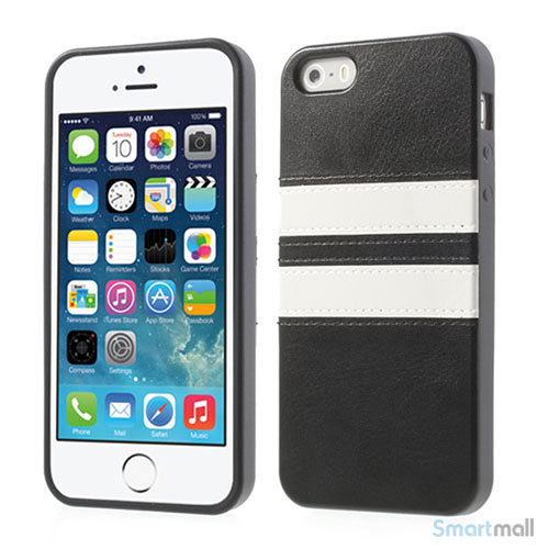 Crazy Horse cover med læderbagside til iPhone 5 og 5s – Sort