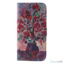 Dekorativ pung til iPhone 6, laeder med motiver i oliemaling - Blomster