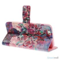 Dekorativ pung til iPhone 6, laeder med motiver i oliemaling - Blomster4