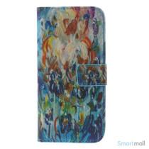 Dekorativ pung til iPhone 6, laeder med motiver i oliemaling - Farverige blomster