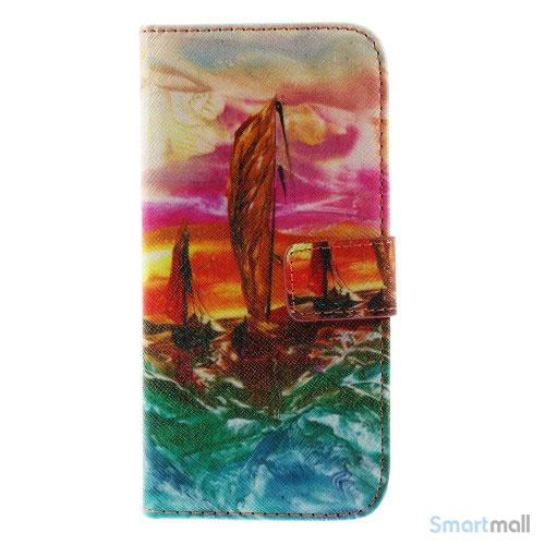 Dekorativ pung til iPhone 6, laeder med motiver i oliemaling - Sejlbaad