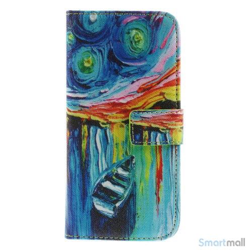 Dekorativ pung til iPhone 6, laeder med motiver i oliemaling - Starry Sky