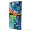 Dekorativ pung til iPhone 6, laeder med motiver i oliemaling - Starry Sky2