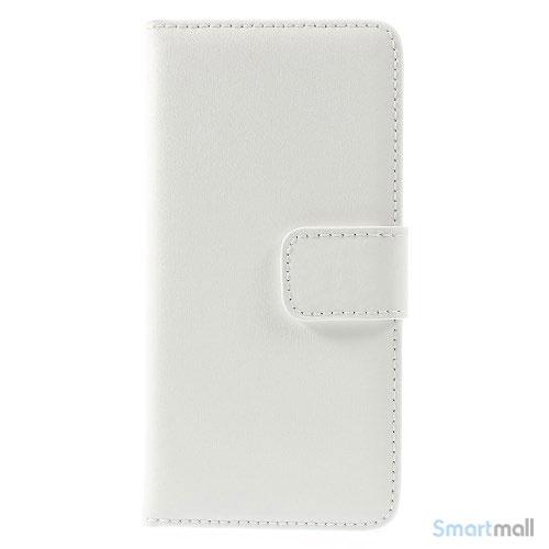 Eksklusiv pung til iPhone 6 i aegte laeder med indbygget stand-funktion - Hvid3