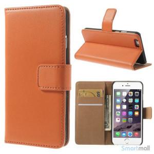 Eksklusiv pung til iPhone 6 i aegte laeder med indbygget stand-funktion - Orange