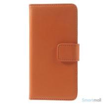 Eksklusiv pung til iPhone 6 i aegte laeder med indbygget stand-funktion - Orange3