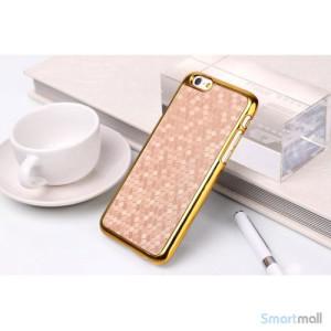 Eksklusivt cover til iPhone 6 med moenstret laederbelægning - Guld3