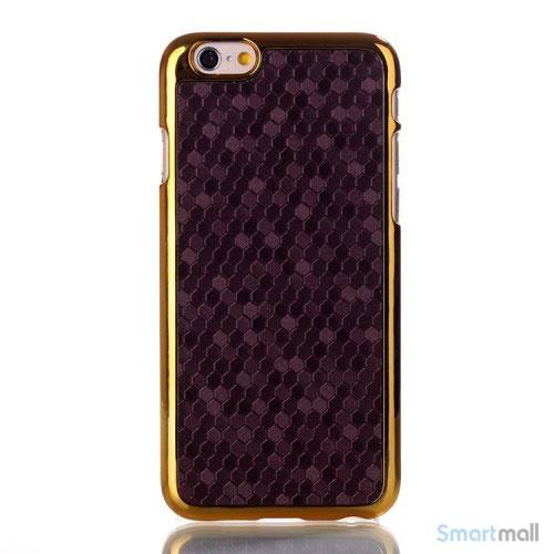 Eksklusivt cover til iPhone 6 med moenstret laederbelaegning - Lilla