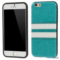 Elegant bag-cover til iPhone 6 i laeder og TPU-plast - Blaa