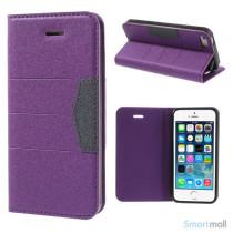 Elegant magnetisk flipcover til iPhone 5 og 5s - Lilla