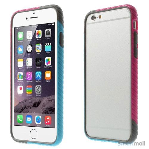 Enkel bumper til iPhone 6 med dekorativt og praktisk twill-moenster - Rose - Blaa
