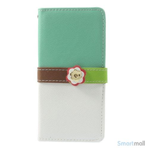 Feminin pung til iPhone 6 med mange praktiske detaljer - Cyan - Hvid5