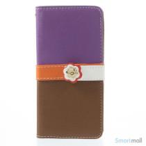 Feminin pung til iPhone 6/6S med mange praktiske detaljer - Lilla & Brun