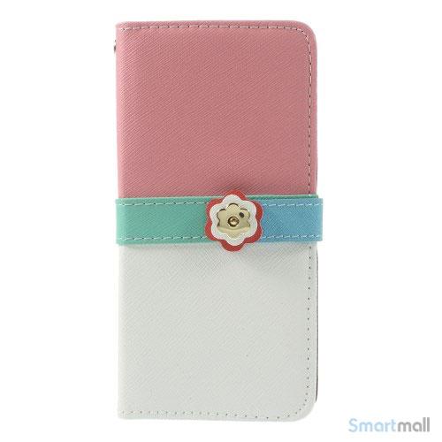 Feminin pung til iPhone 6 med mange praktiske detaljer - Pink - Hvid5