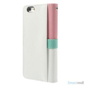 Feminin pung til iPhone 6 med mange praktiske detaljer - Pink - Hvid6