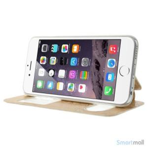 Flipcover i laeder til iPhone 6, med mange funktioner - Guld2