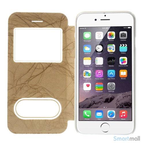 Flipcover i laeder til iPhone 6, med mange funktioner - Guld4