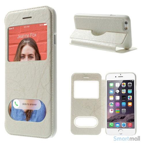 Flipcover i laeder til iPhone 6, med mange funktioner - Hvid