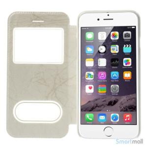 Flipcover i laeder til iPhone 6, med mange funktioner - Hvid5