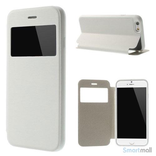 Flipcover til iPhone 6, udfoert i laeder med vindue og standfunktion - Hvid2