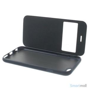Flipcover til iPhone 6, udfoert i laeder med vindue og standfunktion - Moerkeblaa7