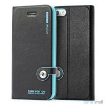 HELLO DEERE flip-cover til iPhone 5 - 5s, laeder med standfunktion - Cyan