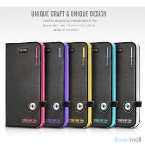 HELLO DEERE flip-cover til iPhone 5 - 5s, laeder med standfunktion - Cyan2