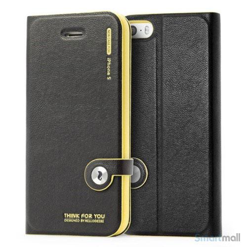 HELLO DEERE flip-cover til iPhone 5 - 5s, laeder med standfunktion - Gul