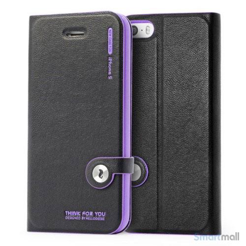 HELLO DEERE flip-cover til iPhone 5 - 5s, laeder med standfunktion - Lilla
