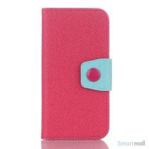 Ioejnefaldende laeder-pung til iPhone 6 med ekstra lommer - Cyan - Rose