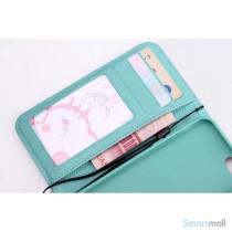Ioejnefaldende laeder-pung til iPhone 6 med ekstra lommer - Cyan - Rose5