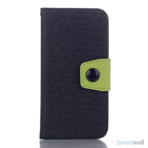 Ioejnefaldende laeder-pung til iPhone 6 med ekstra lommer - Groen - Sort