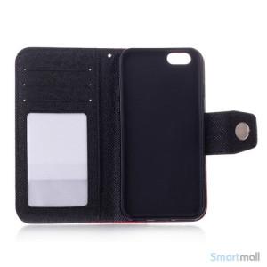 Ioejnefaldende laeder-pung til iPhone 6 med ekstra lommer - Groen - Sort4
