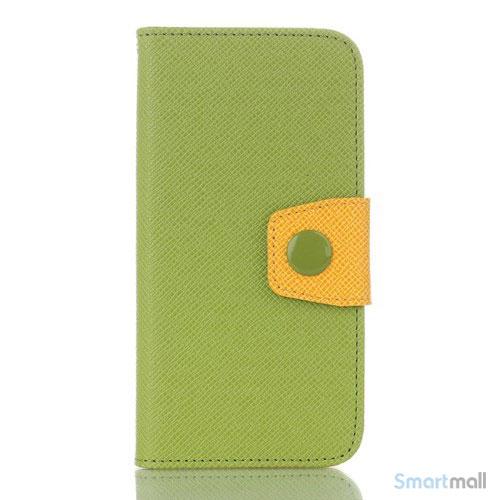 iøjnenefaldende læder-pung til iPhone 6/6S med ekstra lommer - Gul & Grøn