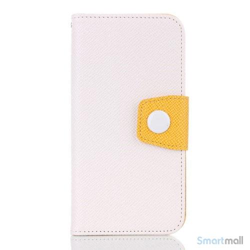 Ioejnefaldende laeder-pung til iPhone 6 med ekstra lommer - Gul - Hvid