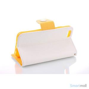 Ioejnefaldende laeder-pung til iPhone 6 med ekstra lommer - Gul - Hvid3