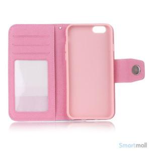 Ioejnefaldende laeder-pung til iPhone 6 med ekstra lommer - Hvid - Pink4